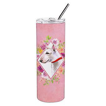 Bull Terrier Pink Flowers Double Walled Stainless Steel 20 oz Skinny Tumbler