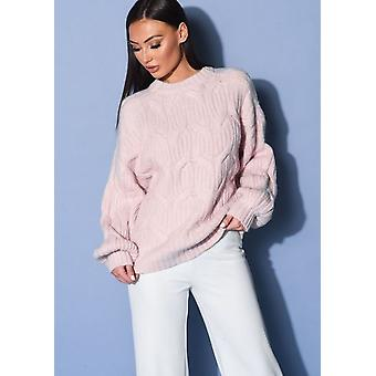 Oversized Chunky Cable Knitted Long Sleeve Jumper Pink