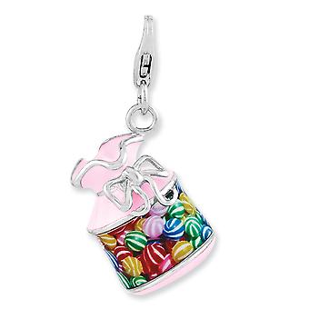 925 Sterling Silver Fancy Lobster Closure Enameled 3 d Candy Jar With Lobster Clasp Charm Pendant Necklace Jewelry Gifts