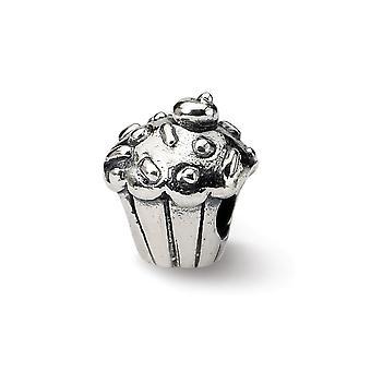 925 plata esterlina pulido acabado Reflexiones Niños Cupcake Perla Encanto Colgante Collar Joyería Regalos para las mujeres