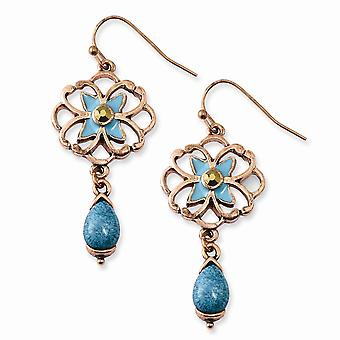 Shepherd hook Copper tone Teal and Brown Glass Stone With Teal Enamel Earrings Jewelry Gifts for Women