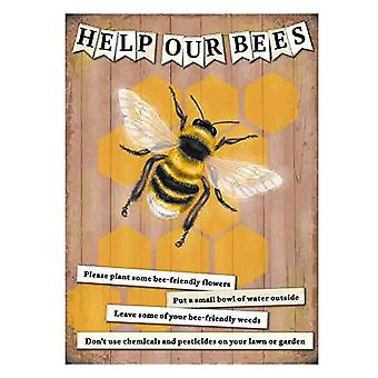 Help Our Bees Small Metal Sign 200mm x 150mm (og)