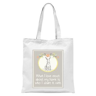 Hare Frame What I Love Most About My Home Is Who I Share It With Tote Bag - White