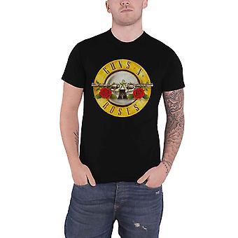 Guns N Roses T camisa clássica pistola Logo banda nova oficial Mens Black