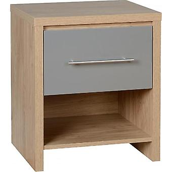 Seville 1 Drawer Bedside Cabinet - Light Oak Effect Veneer/grey Gloss