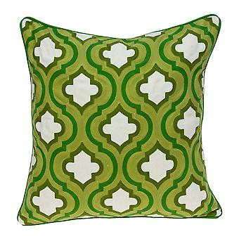 """20"""" x 7"""" x 20"""" Cool Traditional Green and White Pillow Cover With Poly Insert"""