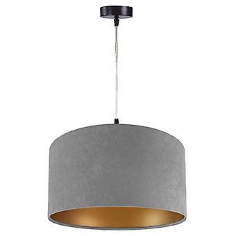 Pendant luminaire Jalua P suede grey & gold Ø 50 cm