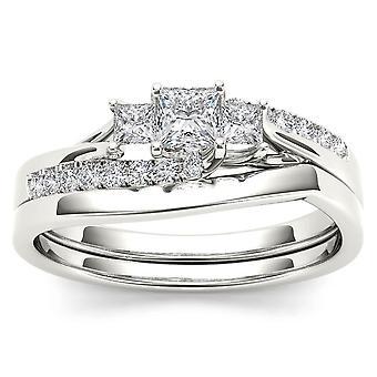 Igi-certifierad s925 silver 0.50ct tdw princess diamond tre sten brudset