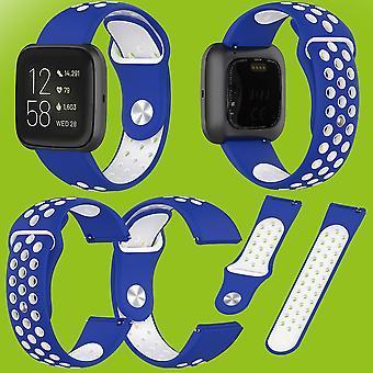 Voor Fitbit versa 2 kunststof/siliconen armband voor vrouwen/size S blauw-wit horloge