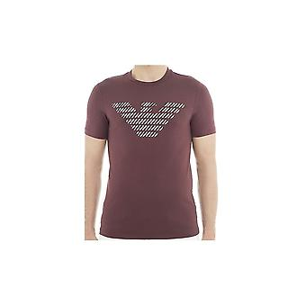 Emporio Armani Cotton Printed Eagle Logo Burgundy T-shirt