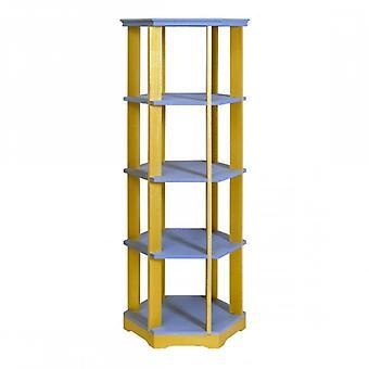 REBECCA möbler bok hylla roterande hylla 5 hyllor trä grå gult sovrum vardags rum