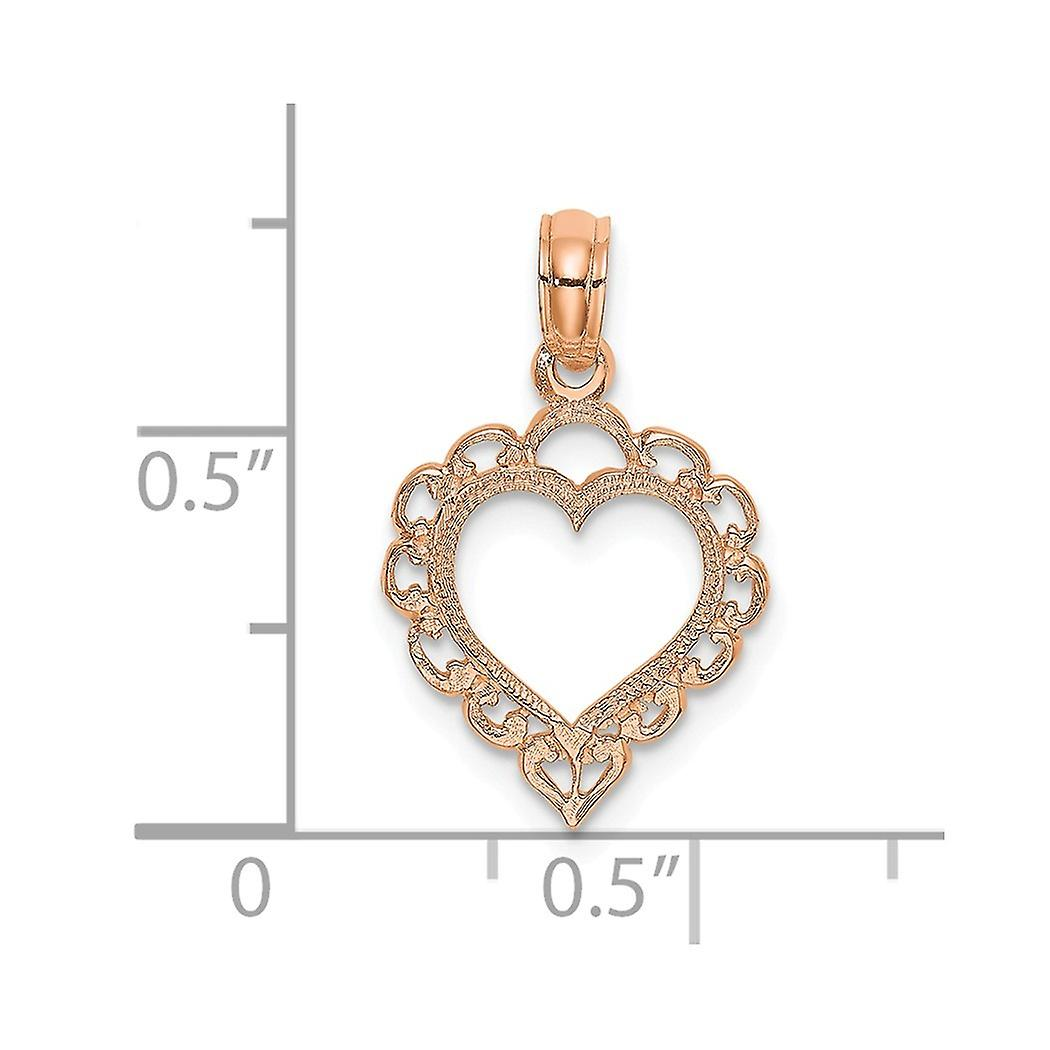 14k Rose Gold Love Heart Pendant Necklace With Lace Trim Jewelry Gifts for Women - .5 Grams