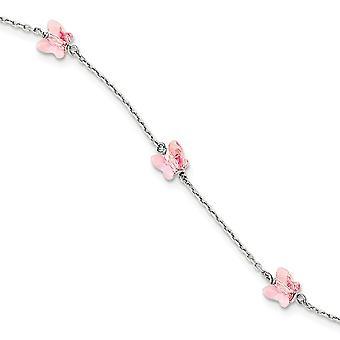 925 sterlinghopea 6mm lt rose kristalli perhonen enkeli siivet asema rannerengas 6 tuumaa