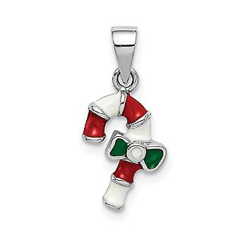 925 Sterling Silver Rhodium plated for boys or girls Enameled Candy Cane Pendant Necklace - .9 Grams