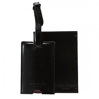 Ted Baker Chuckle Black Leather Passport Holder & Luggage Tag Gift Set