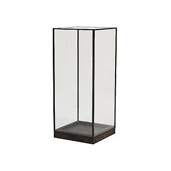 Licht en levende orkaan 20x20x45cm - Askjer Wood Brown en Zwart en glas