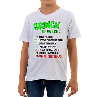 Reality glitch grinch to do list kids t-shirt