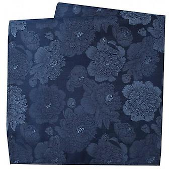 David Van Hagen Large Flowers Silk Pocket Square - Navy