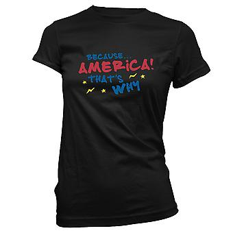 Womens Sweatshirts Hooded Hoodie- Because.. America! That's Why