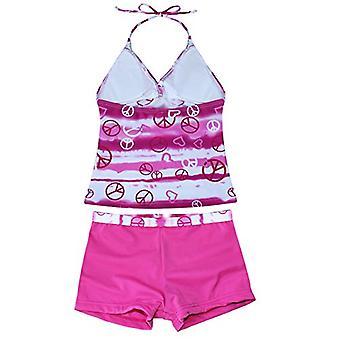 Alvivi Girls Two Piece Halter Tankini Swimsuit Swimwear Sports, Pink, Size 16