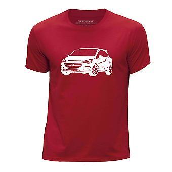 STUFF4 Boy's Round Neck T-Shirt/Stencil Car Art / Corsa VXR/Red