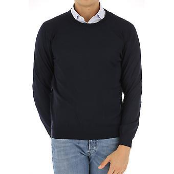 Z Zegna Vrm96zz110b09 Men's Blue Cotton Sweater