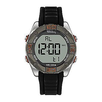 Tekday 655970 Watch - Black Silicone Bracelet Men's Silver Silicone