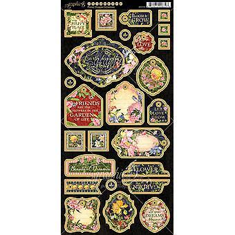 "Floral Shoppe Chipboard Die - Cuts 6""X12"" Sheet - Decorative & Journaling"