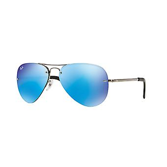 Ray-Ban RB3449 004/55 Gunmetal/Light Green Blue Mirror Gafas de sol