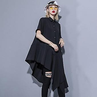 Square Collar Short Sleeve Button Oversize Dress