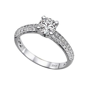 1.5 Carat E VS2 Diamond Engagement Ring 14K White Gold Solitaire w Accents Micro Pave 3 row