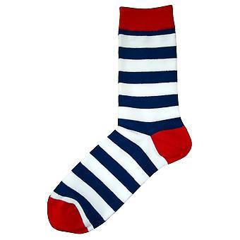 Bassin et brun capuche rayé contrasté talon et orteil chaussettes - bleu marine/blanc