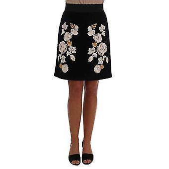 Dolce Gabbana черный цветочные Ricamo юбка--SKI1147376 &