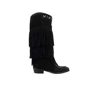 ZOE BLACK SUÈDE BOOT WITH FRINGES