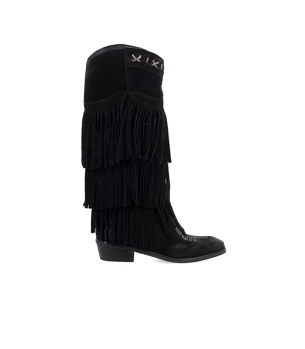 ZOE BLACK SUÈDE BOOT WITH FRINGES F1WxH