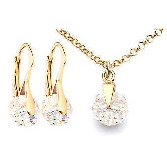 Ah! Jewellery Clear Briolette Graceful 8mm Earrings & Pendant Set