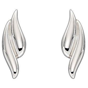 Elementen Zilver Overlappende Curve Oorbellen - Zilver