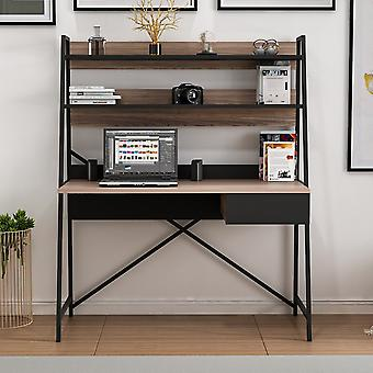 Walnut Color Art Desk, Preto em Chip Melaminic, Metal 124x55x150 cm