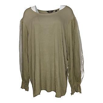 Du Jour Women's Plus Top Scoop-Neck Knit Tee w/ Mesh Sleeves Green A346444