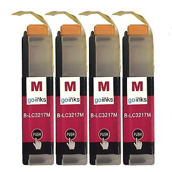 4 cartouches d'encre Magenta pour remplacer Brother LC3217M Compatible/non OEM par Go Inks