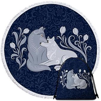 Blue Flowers and Wolfs Beach Towel