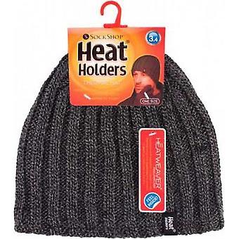 Heat Holders Men's Chunky Rib Hat Charcoal