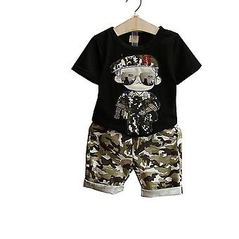 Boys Short Sleeve T-Shirt And Camouflage Shorts-Toddler
