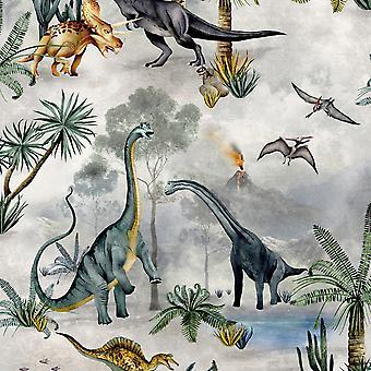 Dino Kingdom Dinosaur Wallpaper Multi Belgravia 7700