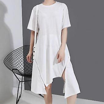 فساتين قميص بسيطة سستة غير منتظمة اللباس اللون الصلب