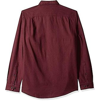 Essentials Men's Slim-Fit Long-Sleeve Solid Flannel Shirt, Burgundy Heather, XX-Large