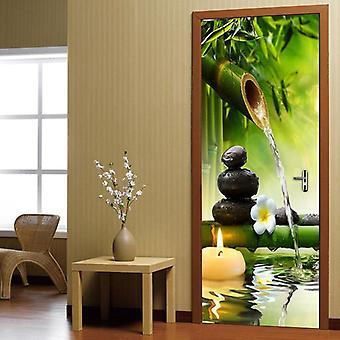 Creative Diy 3d Green Bambus Scenery Door Sticker Vægmaleri - Pvc Self Adhesive