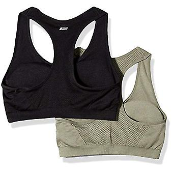 Essentials Women's 2-Pack Light Support Seamless Sports Bras, Olive/Bl...