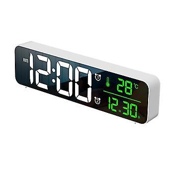 Loskii usb led 3d music dual alarm clock thermometer temperature date hd led display electronic desktop digital table clocks
