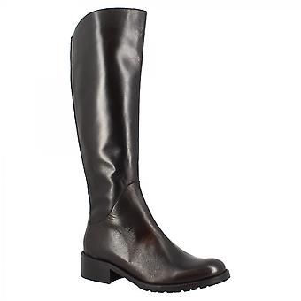 Leonardo Shoes Women'shandmade squared heels knee high boots in black calf leather with side zip